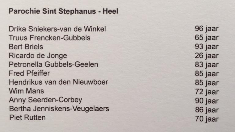 Overledenen 2018 2019 Stephanus Heel