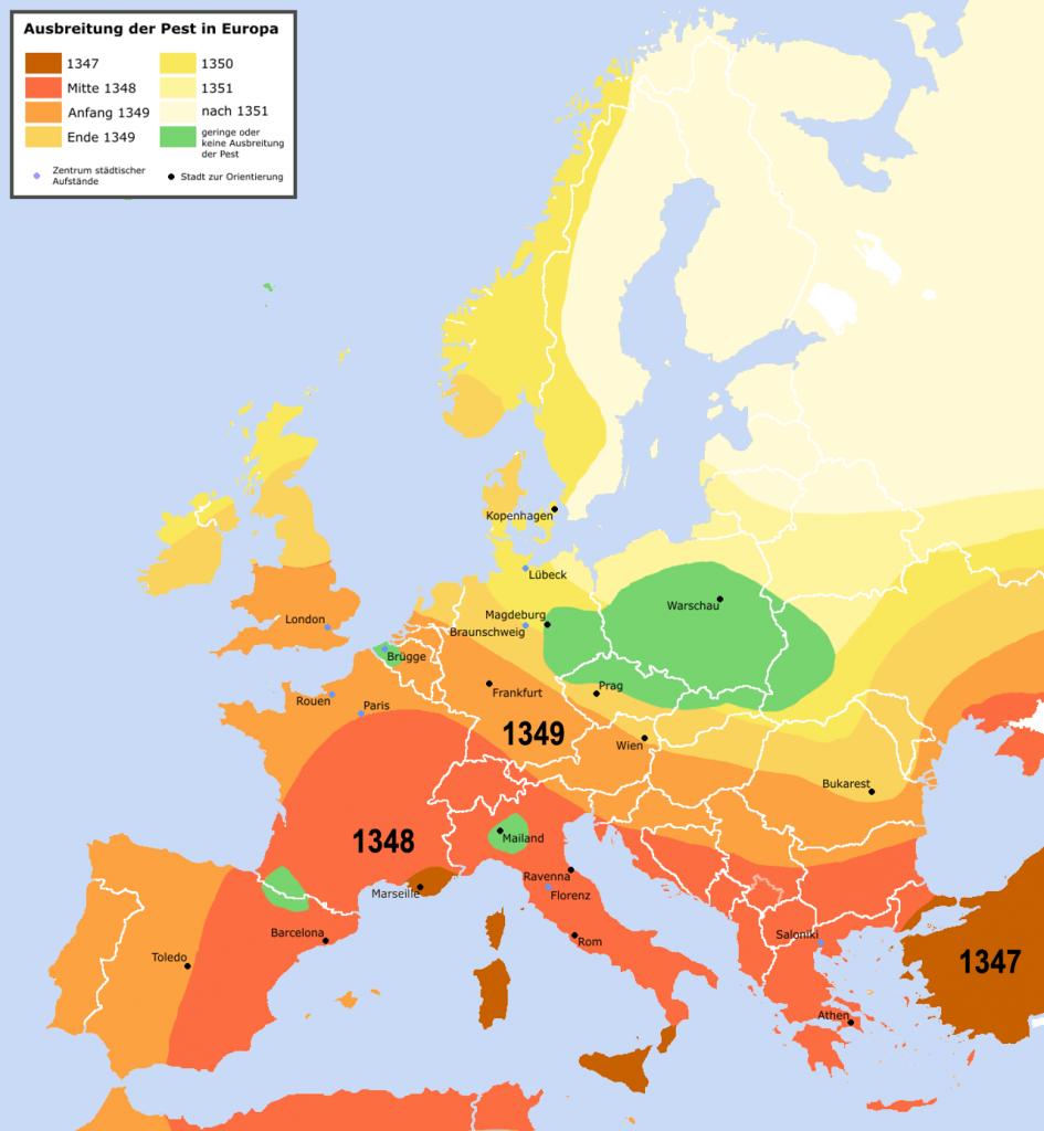 Verspreiding pest in Europa 1347-1351